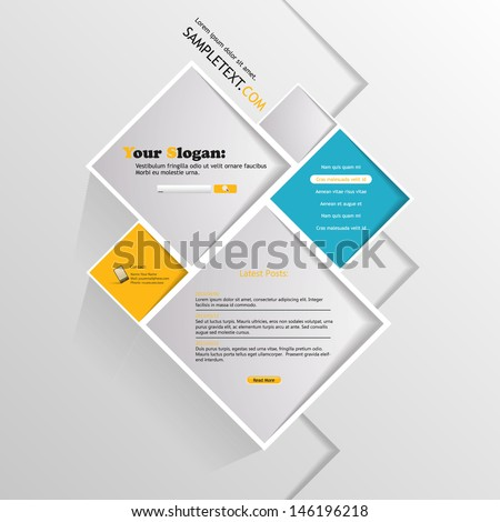 Abstract minimalistic website /square design/  Illustration, eps 10 - stock vector