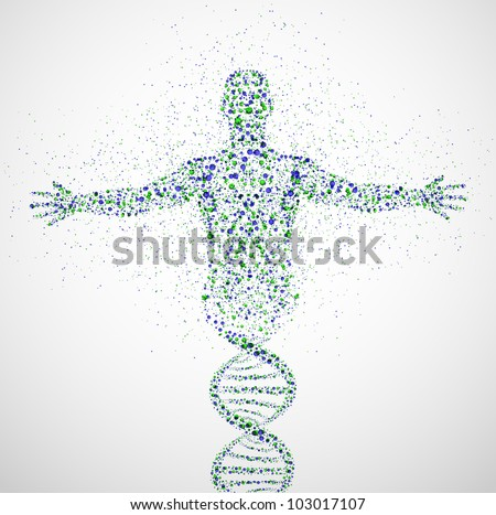 Abstract model of man of DNA molecule. Eps 10