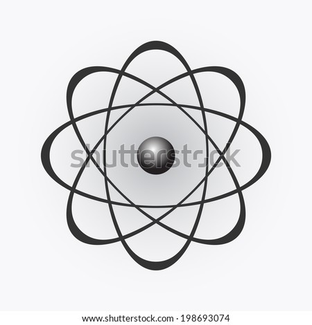 Abstract model of the atom on light gradient background, illustration, vector, eps 8
