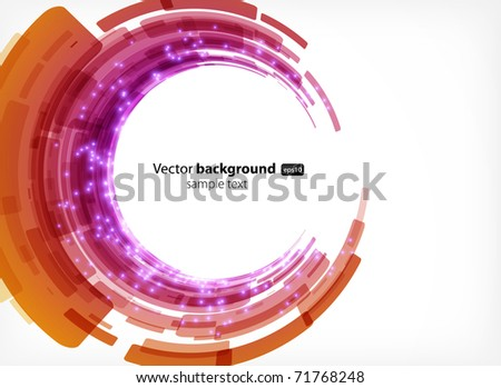 abstract modern background with round shapes and neon lights - stock vector
