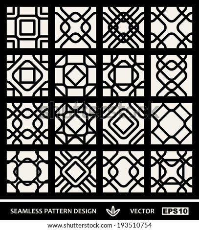 Abstract, modern backgrounds set, geometric seamless patterns, islam style ornaments, monochrome vector wallpapers, fashion fabrics and wrapping papers with square graphic elements for design - stock vector