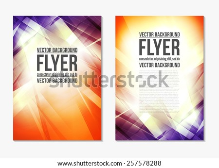 Abstract modern blue and red retro color backgrounds with lighting effect. Back and front flyer. Bright cover design template layout for corporate business book, booklet, brochure, poster. Vector - stock vector