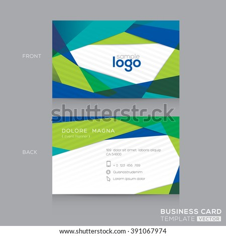 Abstract modern Blue Green Business card name card Design Template - stock vector