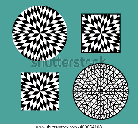 Abstract modern checkerboard pattern and object - stock vector