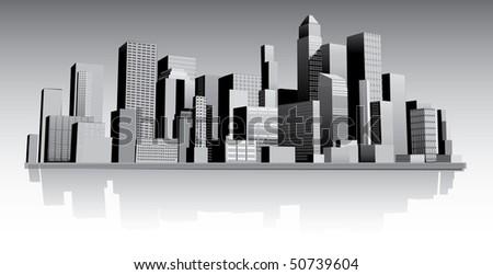 Abstract modern city - stock vector