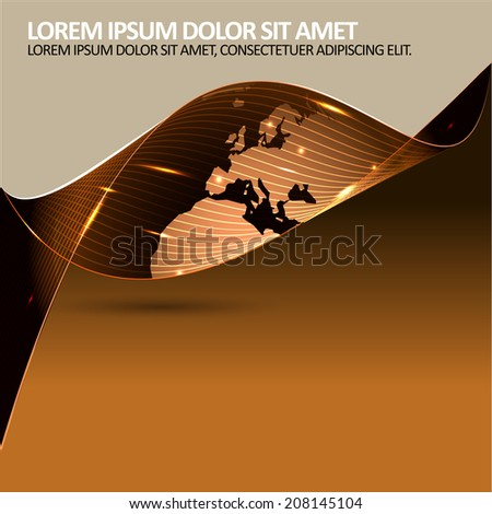 Abstract modern corporate vector background with continents and place for text. Can be used for brochure, poster, flyer - stock vector