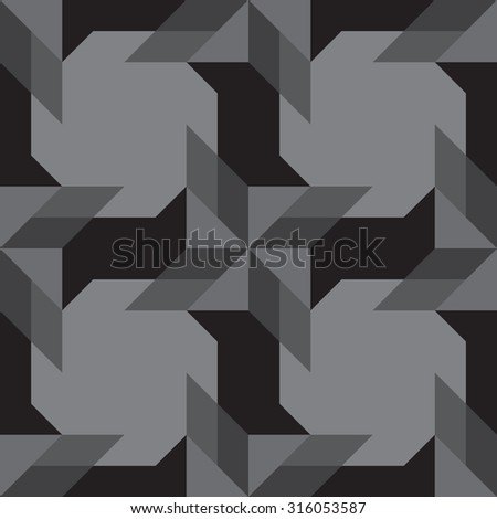 Abstract modern decorative seamless pattern with different geometrical shapes of black and grey shades
