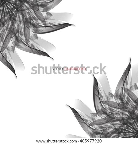 Abstract modern floral background with black leaves. Floral abstract vector background with  black leaves - stock vector