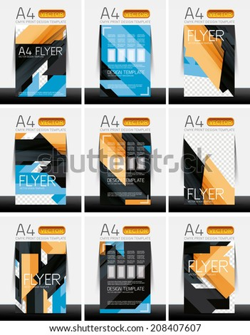 Abstract modern flyer brochure design templates collection with sample text or business A4 booklet cover