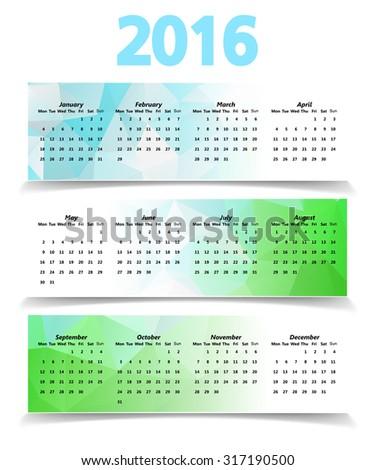 Abstract Modern Natural Triangular Polygonal 2016 calendar - stock vector