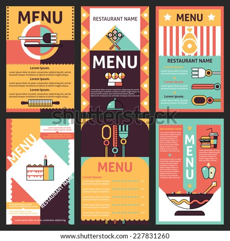 Abstract modern restaurant menu list designs set with decorative cuisine elements isolated vector illustration - stock vector