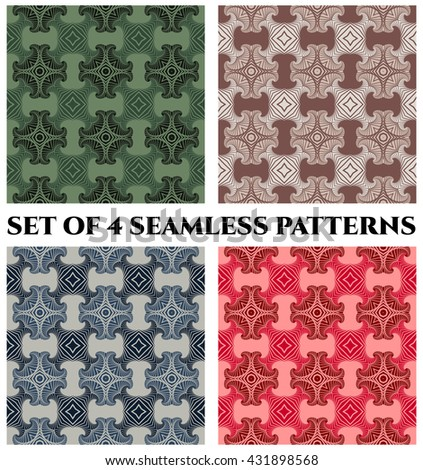 Abstract modern seamless patterns with fractal decorative elements of blue, green, red and brown shades - stock vector