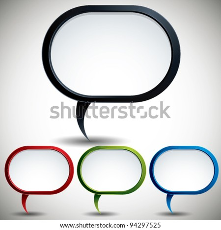 Abstract modern style speech bubble vector backgrounds color versions set. - stock vector