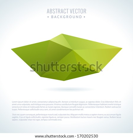 Abstract modern vector background with 3D triangle object - stock vector