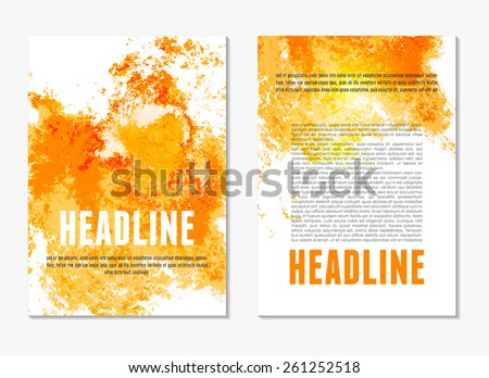 Abstract modern yellow and orange color backgrounds with watercolor paint splash. Back and front flyer. Bright cover design template layout for corporate business booklet, brochure, poster. Vector - stock vector