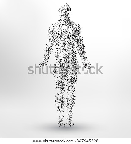 Abstract Molecule based human figure concept - Illustration of a human body made of dots and lines - stock vector
