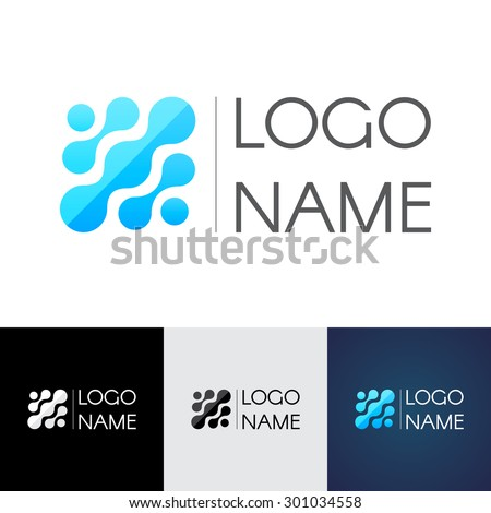 Abstract molecule logo, the color of water, the connection and flow, dna. Vector logo template for your business - stock vector