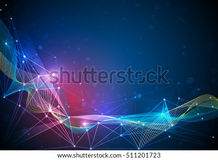 Abstract Molecules and 3D Mesh line with Circles, Lines, Geometric, Polygonal, Triangle pattern. Vector design communication technology on dark blue background. Futuristic digital technology concept