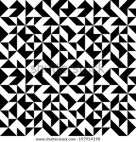 Abstract monochrome geometric pattern - stock vector