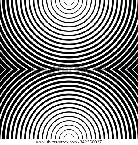 Abstract monochrome graphic with circular, circle pattern.
