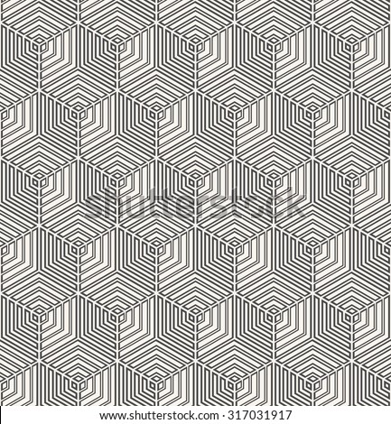 abstract monochrome hexagonal grid pattern. seamless vector background.