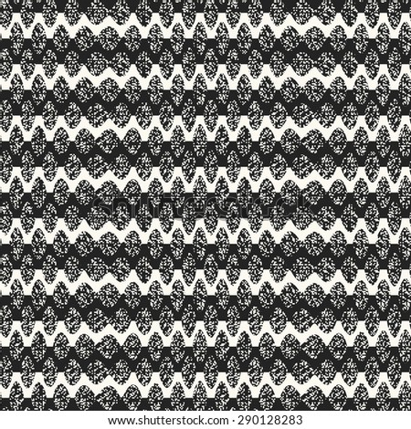 Abstract monochrome modern waves on noisy base textured background. Seamless pattern.