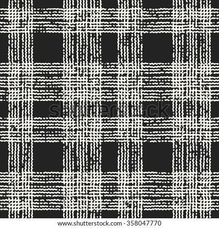 Abstract monochrome noisy checked distressed background. Seamless pattern.