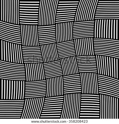 Abstract monochrome pattern with lines in squares with spiral, rotation distortion - deformation effect. Warped, asymmetric, irregular vector background.