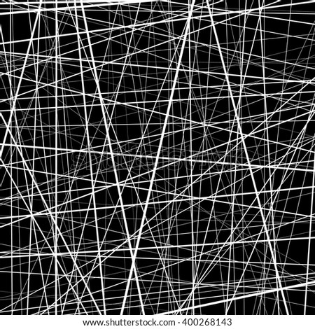 Abstract monochrome texture with straight intersecting lines. Random chaotic lines pattern. Rough texture. Artistic graphic.