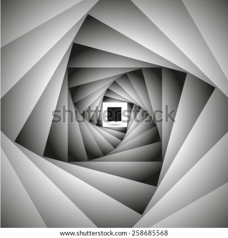 Abstract monochrome tunnel vector background - stock vector