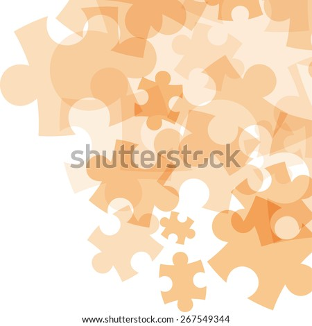 Abstract monocolor puzzle background. Vector graphic template. - stock vector