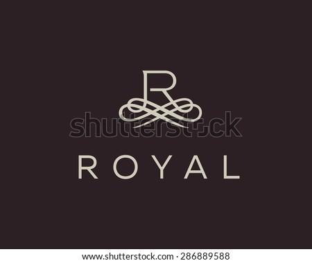 Abstract monogram elegant flower logo icon vector design. Universal creative premium letter R initials ornate signature symbol. Graceful vector sign. - stock vector