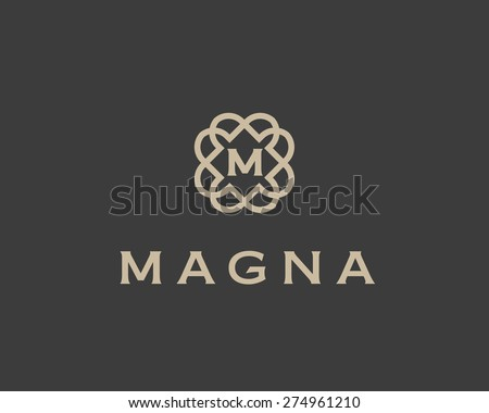 Abstract monogram elegant flower logo icon vector design. Universal creative premium letter symbol. Graceful vector sign. - stock vector