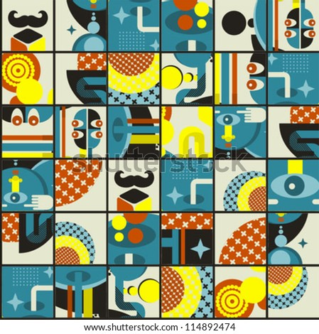 Abstract monsters pattern. Vector illustration in retro style. - stock vector