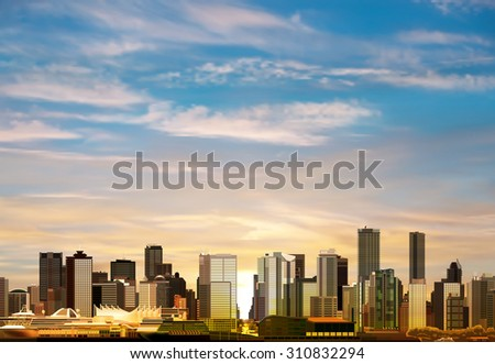 abstract morning background with panorama of Vancouver and clouds - stock vector