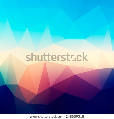Abstract morning blurred low poly background with triangles - stock vector