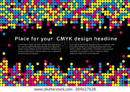 Abstract mosaic background from CMYK colors with place for text - print concept. Vector illustration. - stock vector