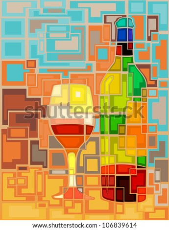 Abstract mosaic editable vector illustration of a wine bottle and glass - stock vector