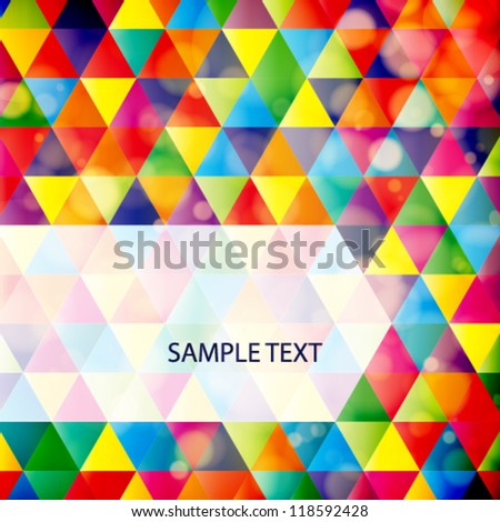 Abstract mosaic geometric background with sample for text. Vector Illustration - stock vector
