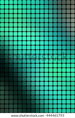 Abstract mosaic green background with square tiles over black, vertical format.