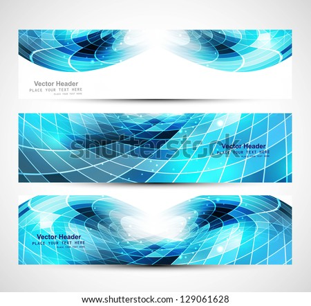Abstract mosaic header blue colorful wave vector - stock vector