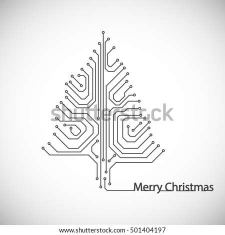 Abstract motherboard technology Christmas tree. Vector illustration.