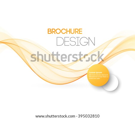 Abstract motion smooth color wave vector. Curve orange and yellow  lines