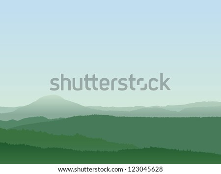 Abstract Mountain Landscape With Layered Forests and Blue Sky - stock vector