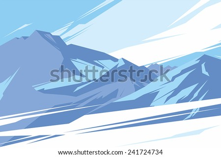 Abstract mountains against the blue sky - stock vector