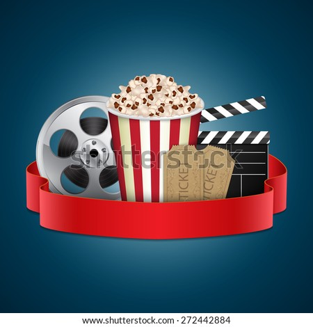 Abstract movie template. Cinema concept with popcorn, reel, film clapper and vintage ticket. EPS10 vector