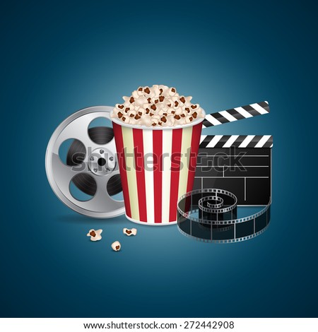 Abstract movie template. Cinema concept with popcorn, reel, filmstrip and film clapper. EPS10 vector