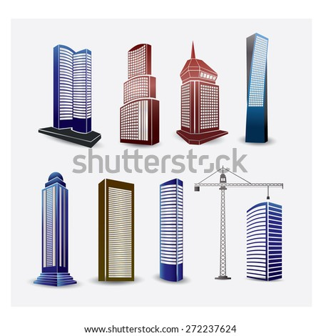 Abstract multi-colored buildings, residential condo building. - stock vector