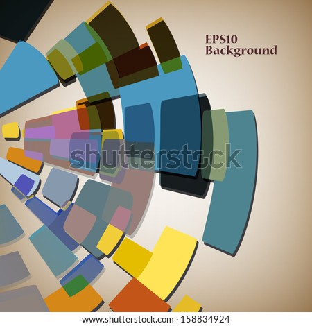 Abstract multi-coloured background with geometrical figures - stock vector