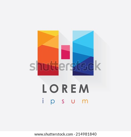 abstract multicolor logo design letter h isolated on white background- long shadow effect- low poly style- company visual identity - stock vector